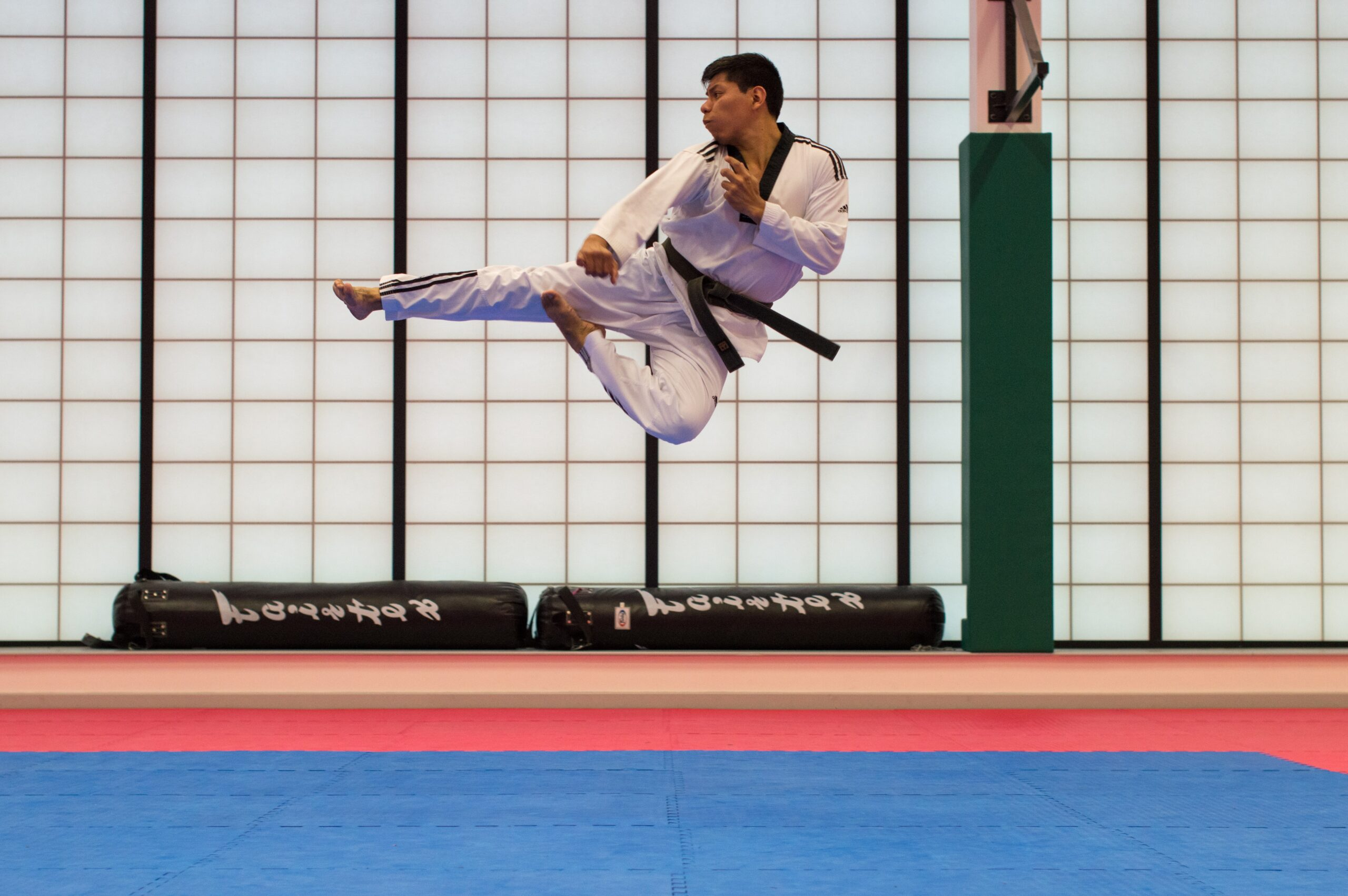 career change - understanding the full impact. Picture of a blackbelt man doing a high kick in the air